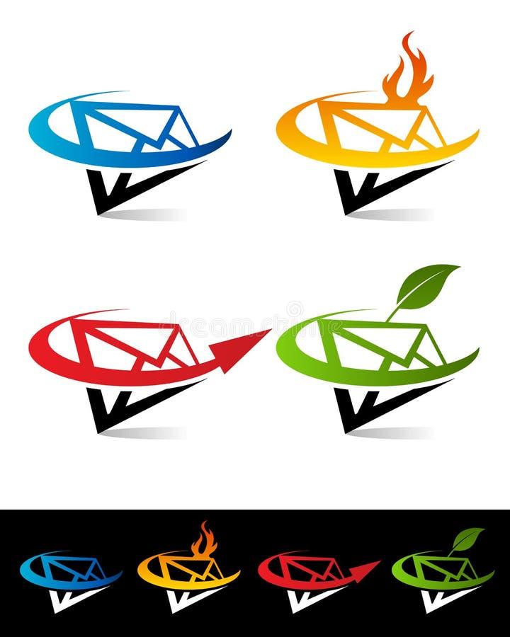 Swoosh Envelope Icons stock illustration
