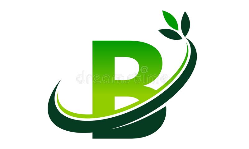 Swoosh Leaf Letter B vector illustration