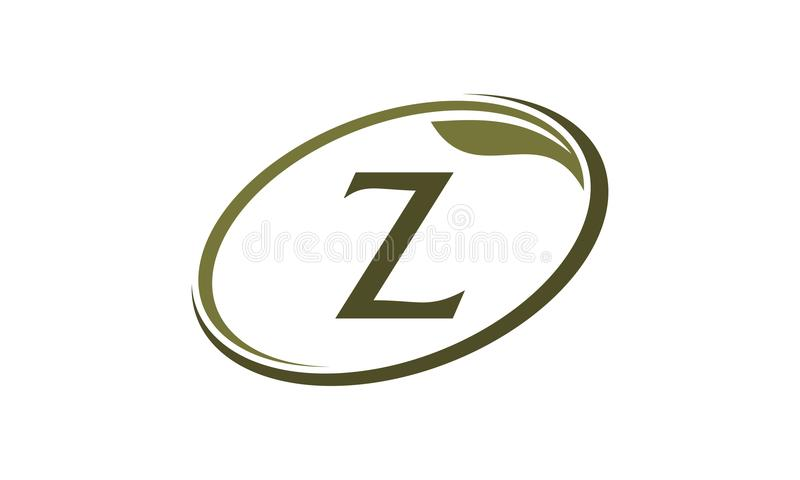 Swoosh Leaf Letter Z stock illustration