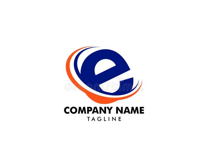 Swoosh Logo Design Vector Template för initial bokstav E royaltyfri illustrationer