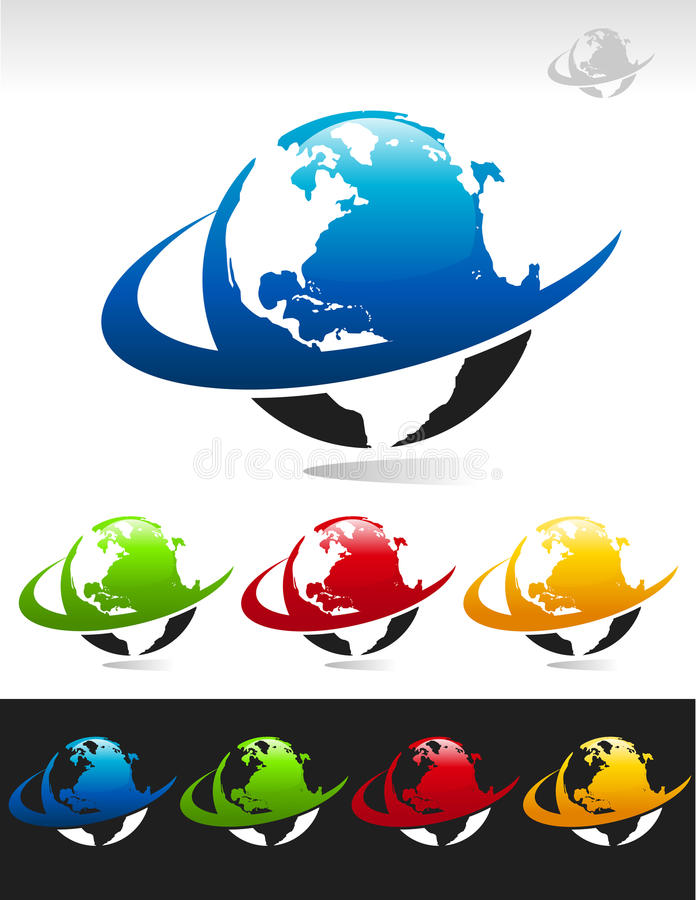 Swoosh Planet Earth Icons. Set of swoosh planet earth icons vector illustration