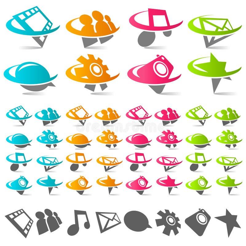 Swoosh Sozialmedia-Ikonen stock abbildung