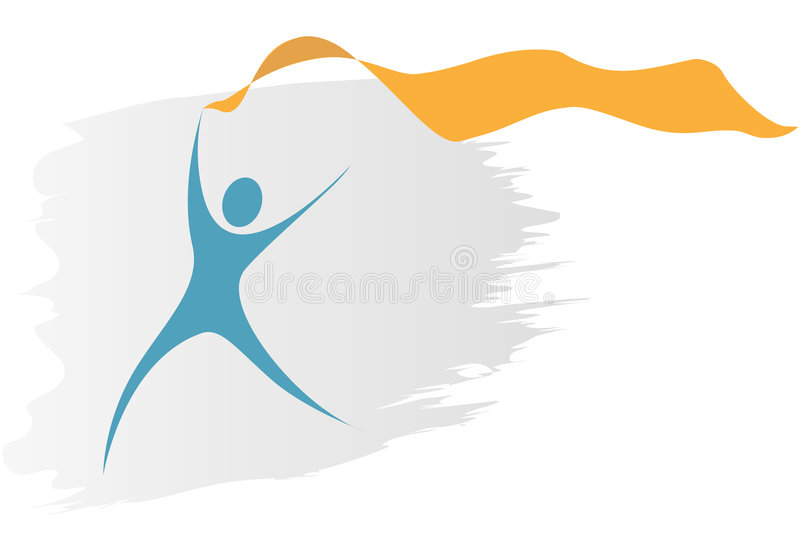 Swoosh symbol person run flowing ribbon bann. A blue swoosh symbol person runs with a flowing gold ribbon banner as copyspace stock illustration