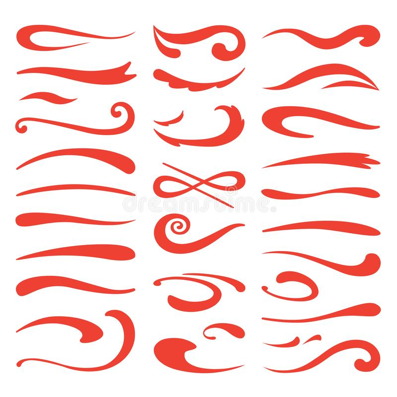Swooshes do traço Ênfase da escova da abanada, curso tirado mão do marcador, destaque swash da garatuja Fonte e rotulação de ilustração royalty free