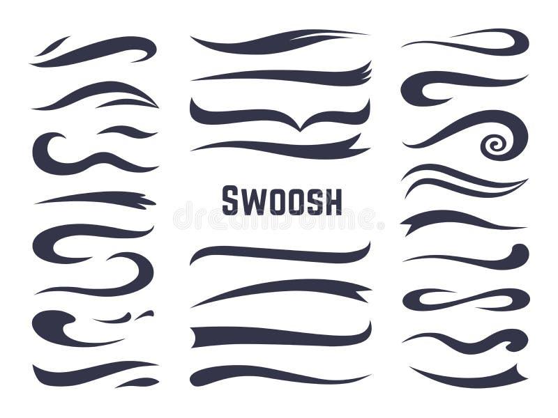 Swooshes och swashes Understrykningsviftningsvansar för sporttextlogoer, calligraphic stilsortslinje garneringbeståndsdel för vir royaltyfri illustrationer