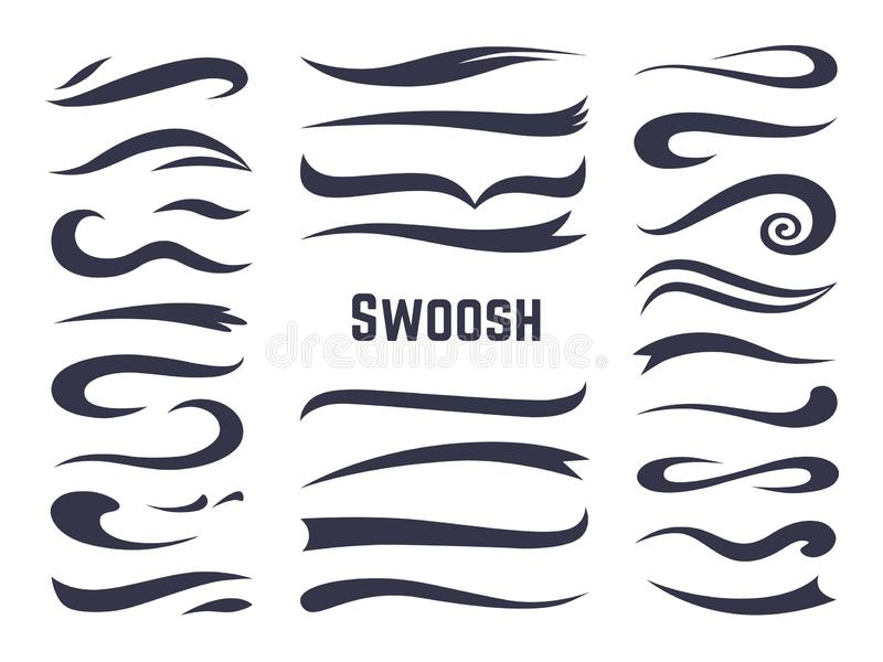 Swooshes y swashes Colas del silbido de la raya para los logotipos del texto del deporte, línea caligráfica elemento de la fuente libre illustration