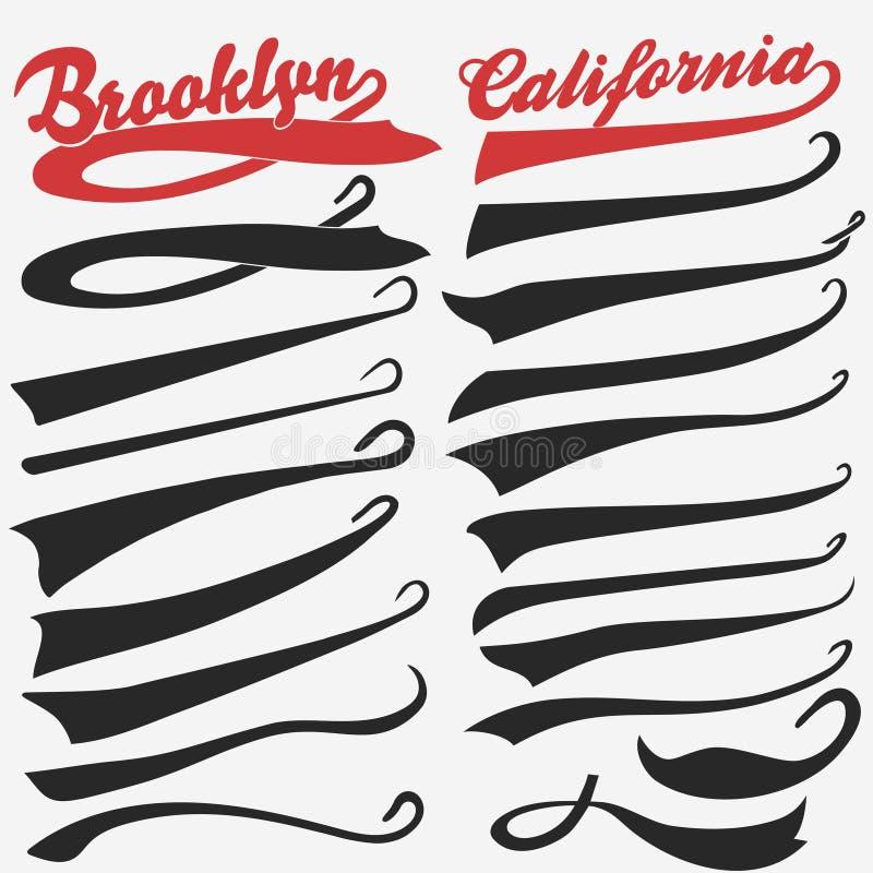 Swooshesuppsättning för idrotts- typografi vektor royaltyfri illustrationer