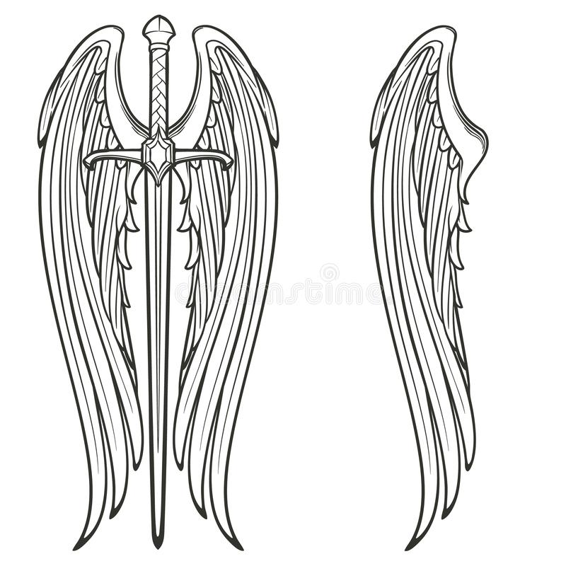 Sword and angel wings. Retributiuon for sins. Medieval gothic style concept art. Black and white isolated sketch. EPS10 vector royalty free illustration