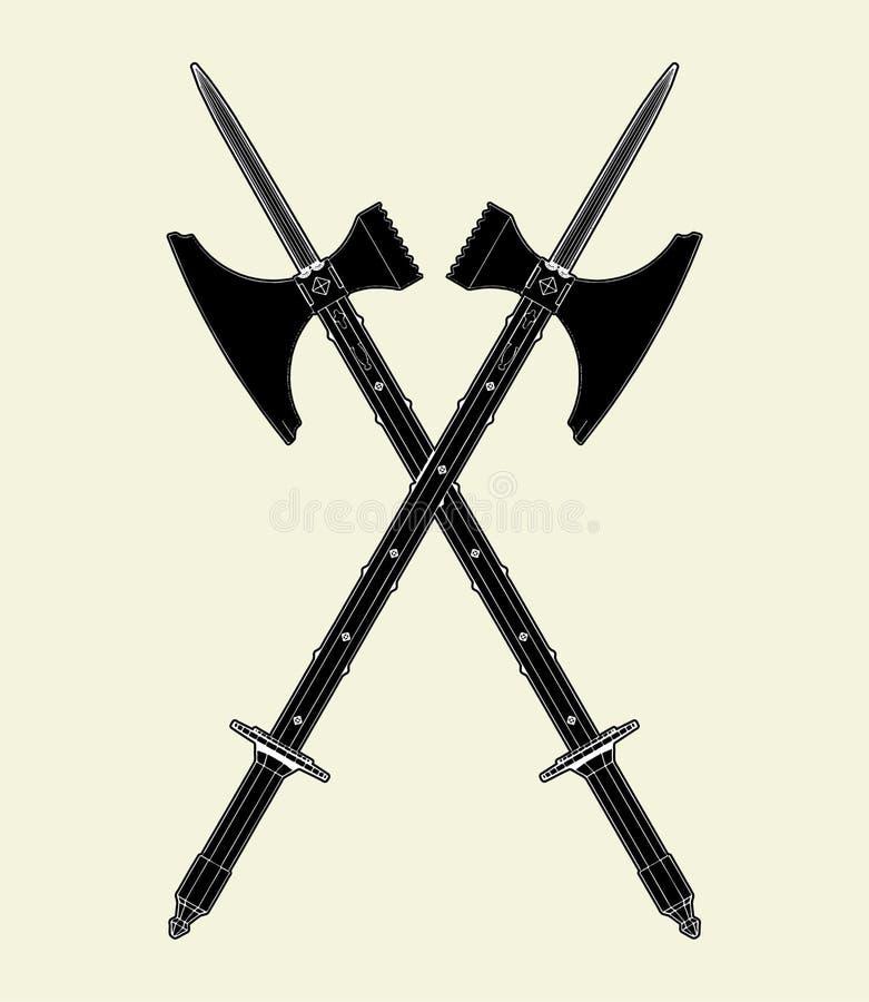 Sword Battle Axe Vector 01 stock illustration