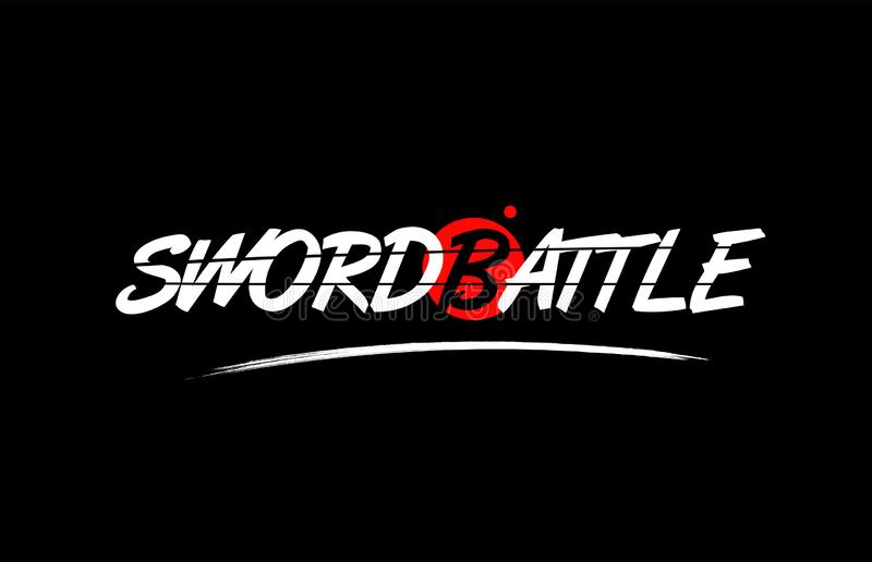 Sword battle word text logo icon with red circle design. Sword battle text word on black background with red circle suitable for card icon or typography logo stock illustration