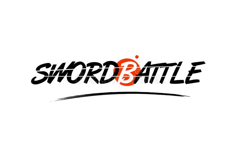 Sword battle word text logo icon with red circle design. Sword battle text word on white background with red circle suitable for card icon or typography logo vector illustration