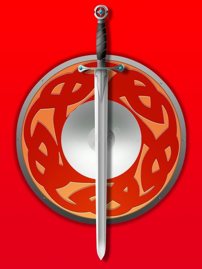 Sword and board vector illustration