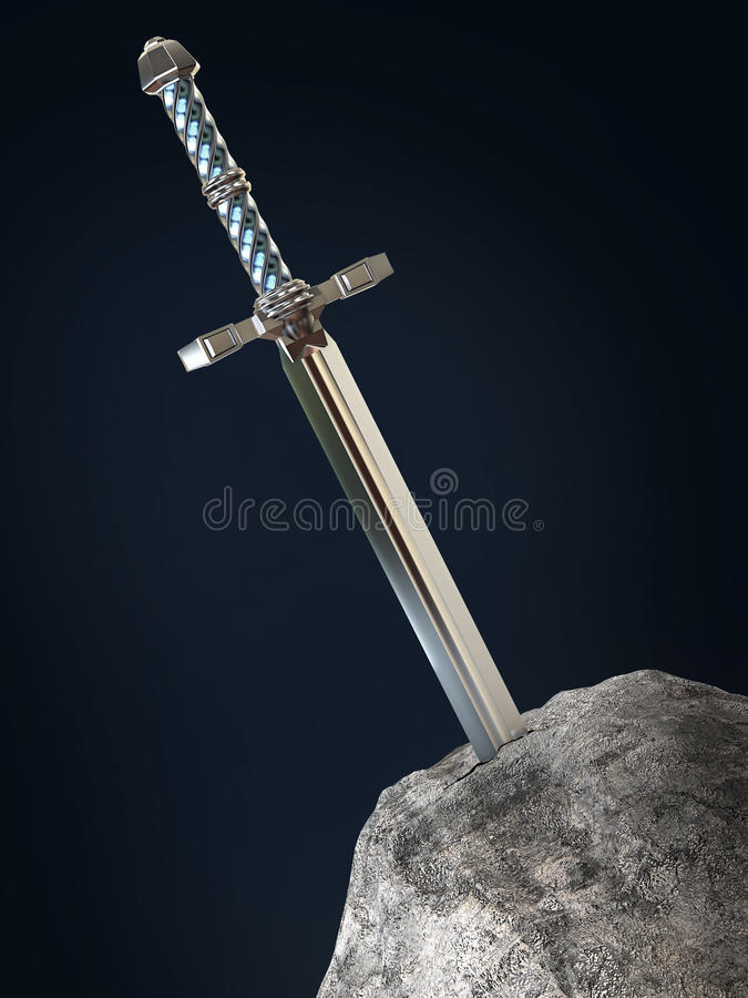 sword excalibur King Arthur stuck in the rock stone isolated render. metaphor of candidate applicant test stock illustration