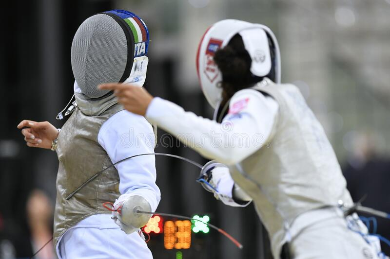 Sword FIE Fencing Grand Prix 2020 - Inalpi Trophy royalty free stock photos