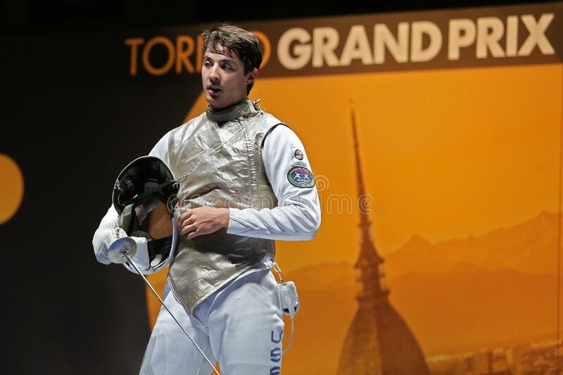 Sword FIE Fencing Grand Prix 2020 - Inalpi Trophy - Finals royalty free stock photo