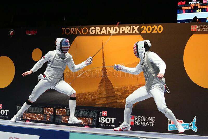 Sword FIE Fencing Grand Prix 2020 - Inalpi Trophy - Finals stock photos