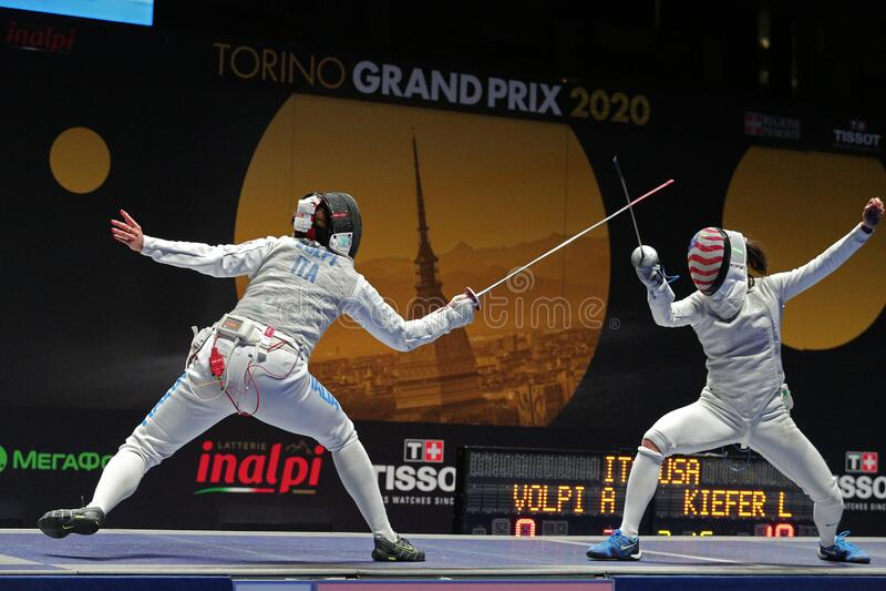 Sword FIE Fencing Grand Prix 2020 - Inalpi Trophy - Finals stock image