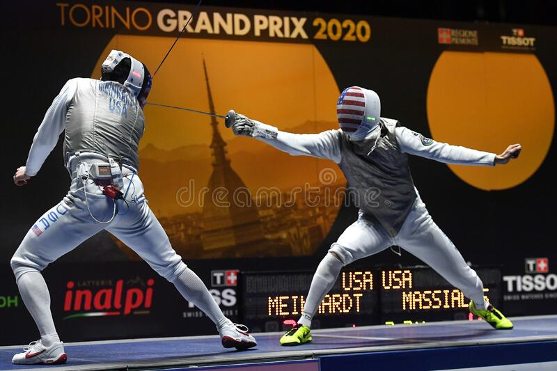 Sword FIE Fencing Grand Prix 2020 - Inalpi Trophy royalty free stock images