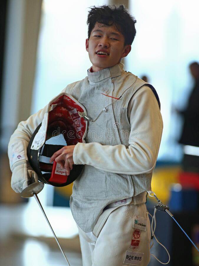 Sword FIE Fencing Grand Prix 2020 Men - Inalpi Trophy royalty free stock photo