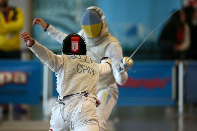 Sword FIE Fencing Grand Prix 2020 Men - Inalpi Trophy royalty free stock image
