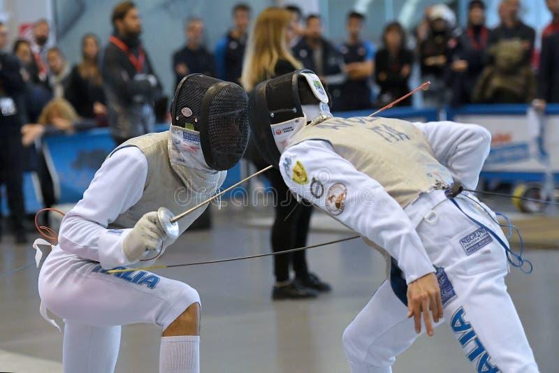 Sword FIE Fencing Grand Prix 2029 - Men stock images