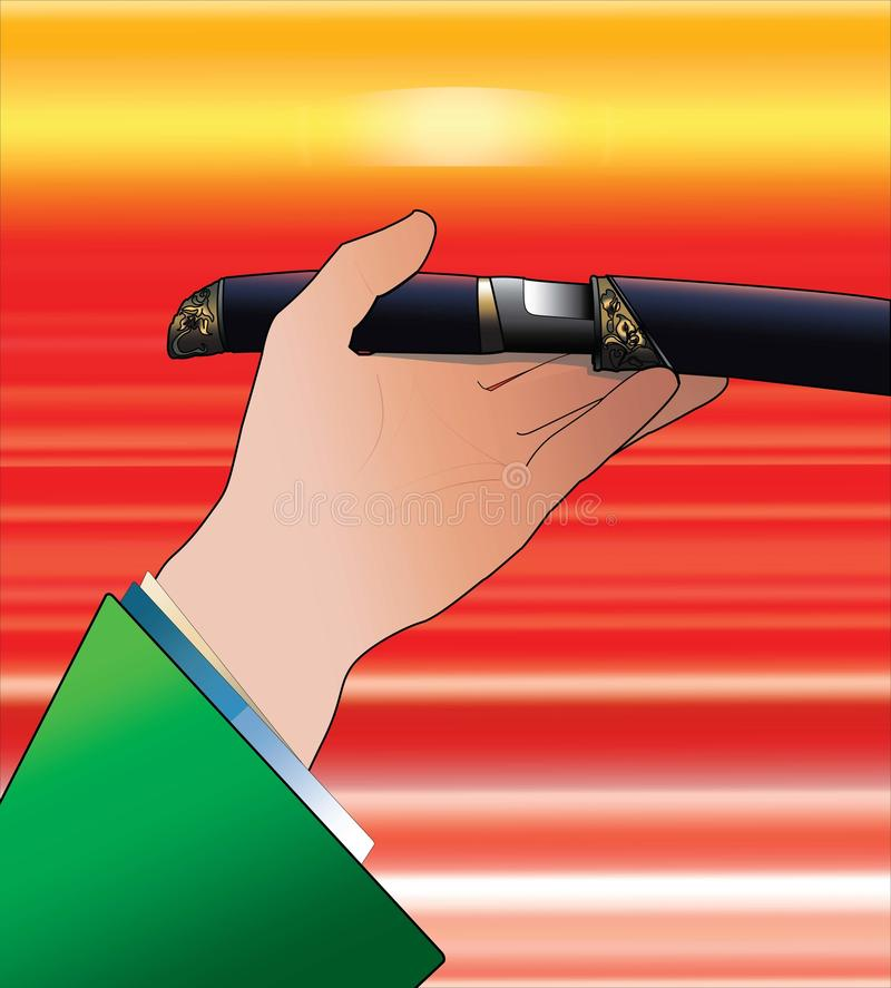 A hand in green kimono holding tanto sword at sunset in anime style stock photography