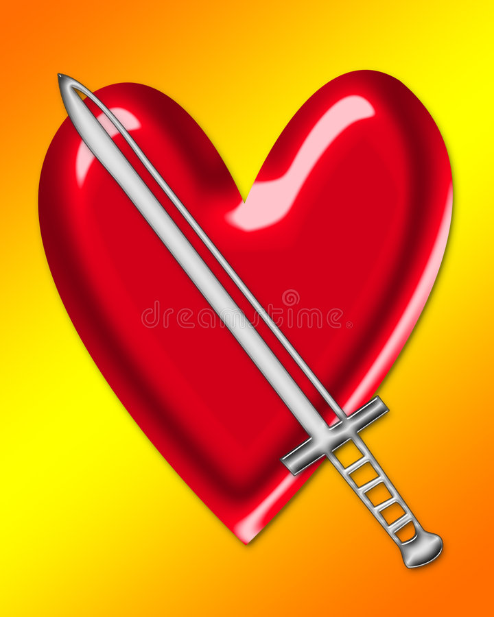 Sword and Heart vector illustration
