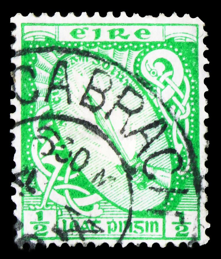 Sword of Light, Symbols 1940-68 serie, circa 1940. MOSCOW, RUSSIA - SEPTEMBER 22, 2019: Postage stamp printed in Ireland shows Sword of Light, Symbols 1940-68 stock photos