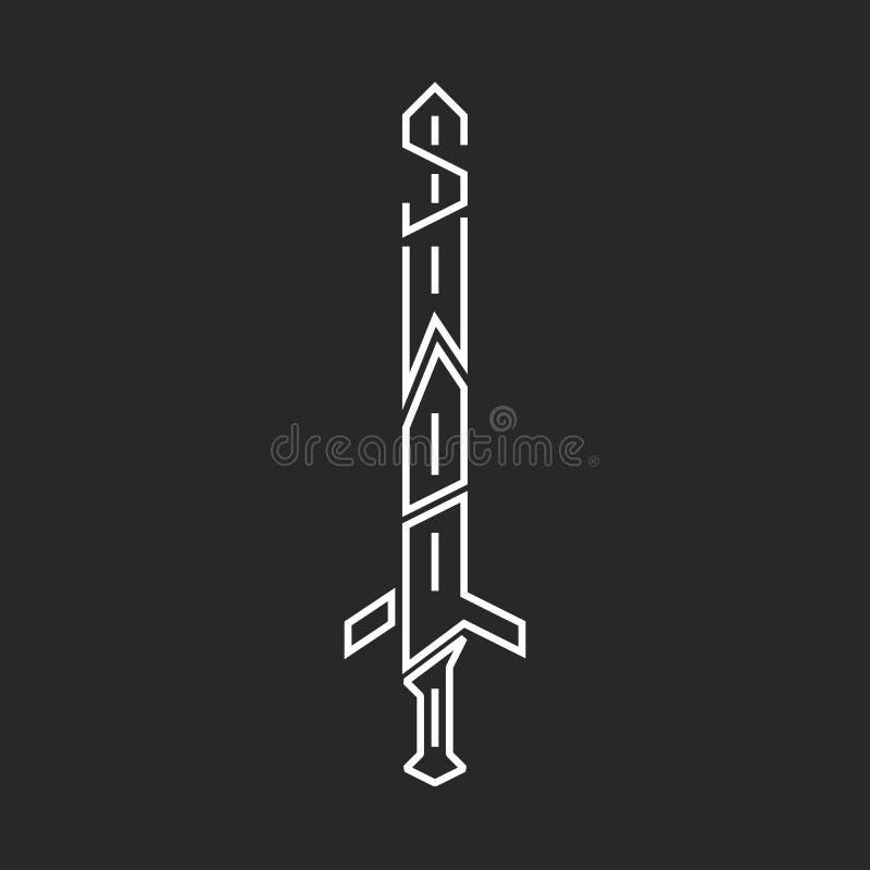 Sword logo hipster lettering, graphic design thin line print t-shirt word emblem. Sword logo hipster lettering graphic design thin line print t-shirt word emblem stock illustration