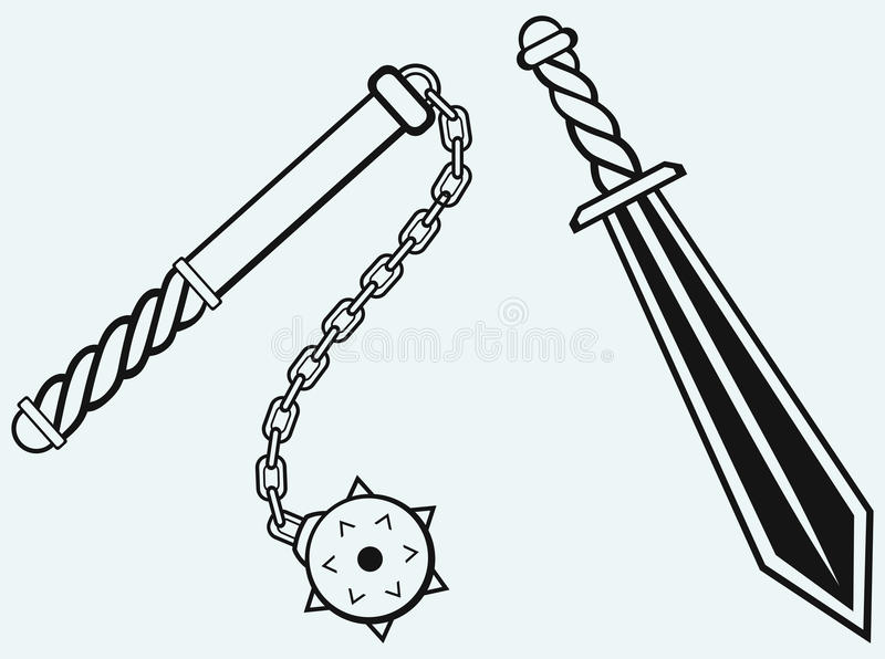 Sword and mace. Isolated on blue background vector illustration