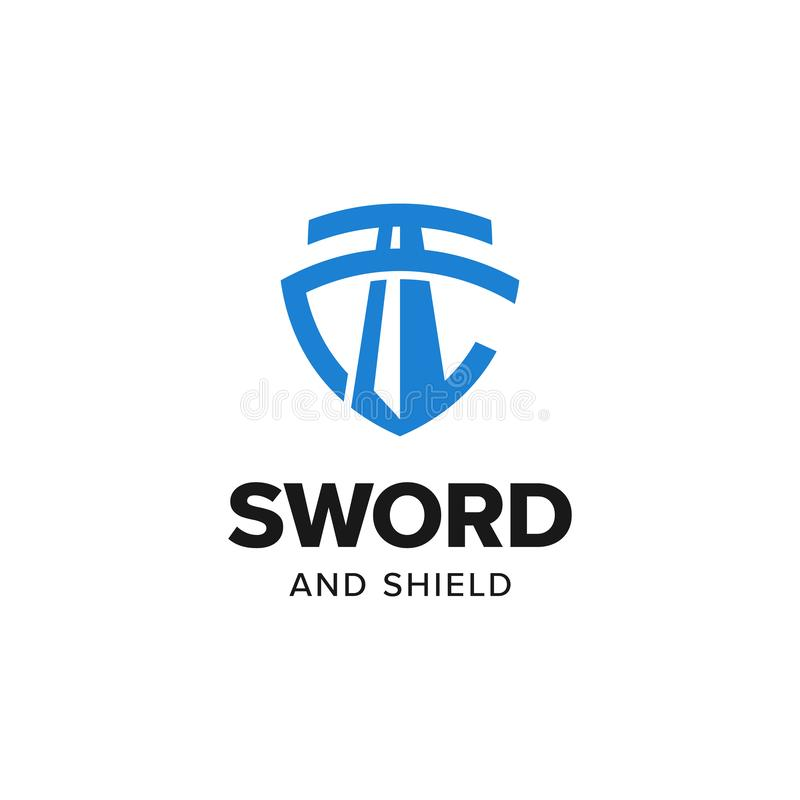 Sword shield justice logo vector inspiration royalty free stock images