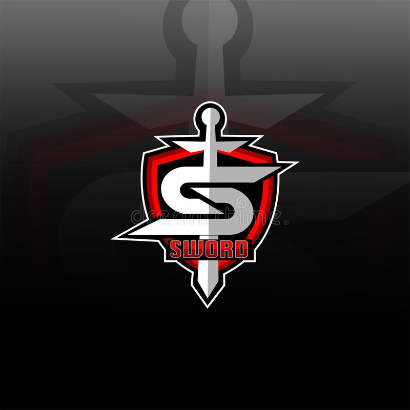 Sword and shield logo gaming. Sword & shiled logo for gaming, esport team , t-shirt print and morenneasy edit for eps file/vector royalty free illustration