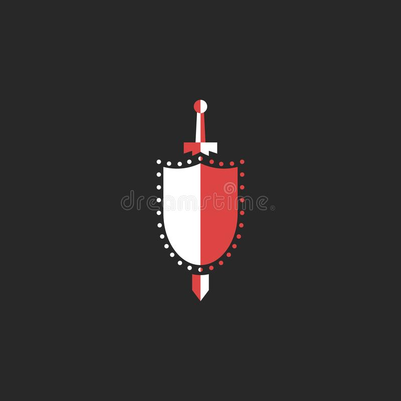Sword and shield logo, mockup design element for security agency, medieval weapon symbol, emblem knightly tournament. Sword and shield logo, mockup design royalty free illustration