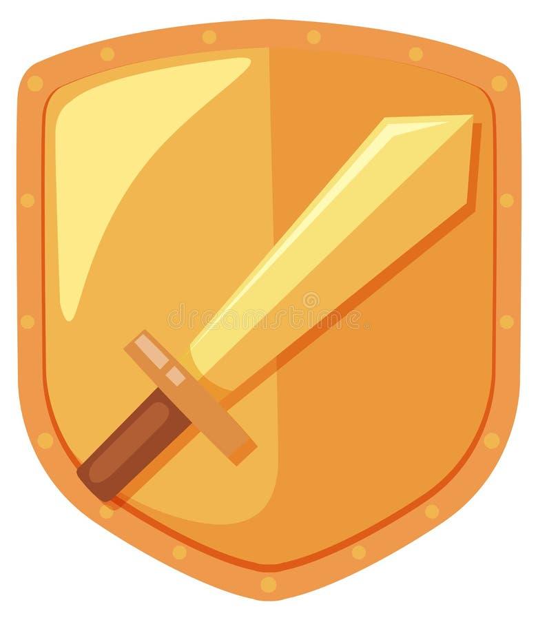 A sword shield logo. Illustration vector illustration