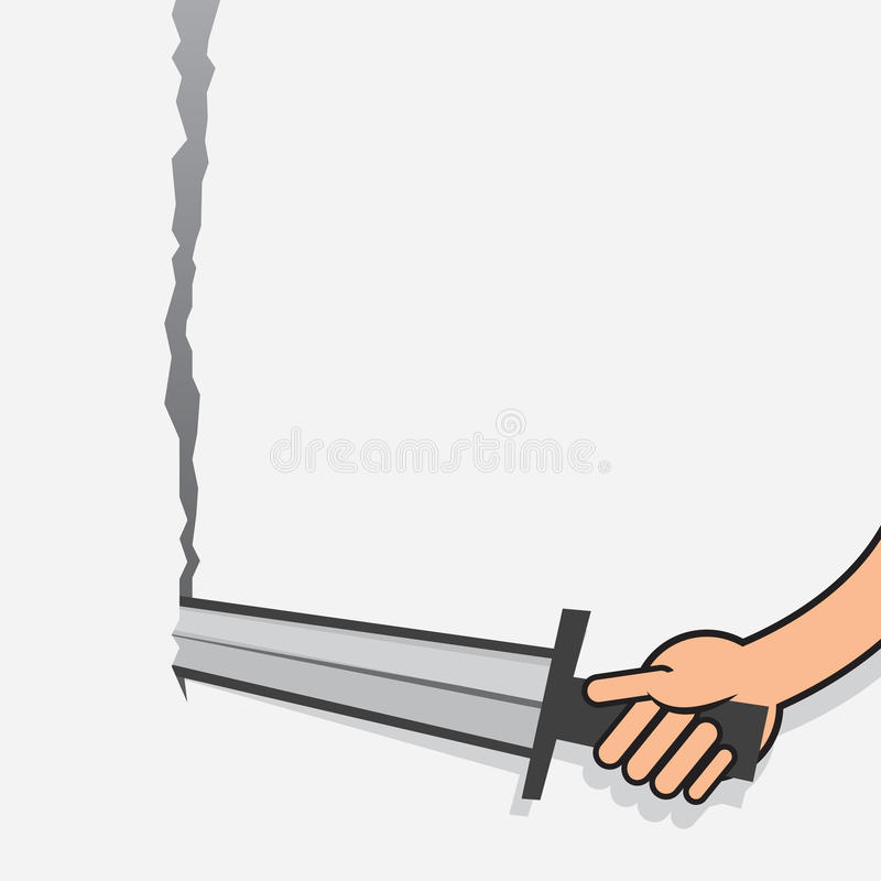 Sword Tearing Paper Arm Royalty Free Stock Photography