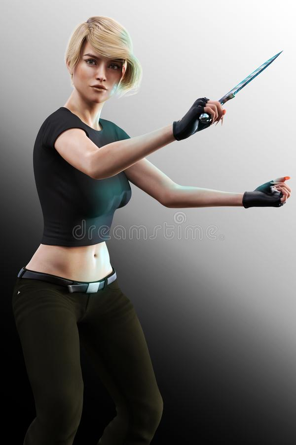 Sword wielding beautiful urban fighter woman 3D. 3D illustration of a beautiful urban fantasy fighter wielding a sword. Particularly suited to work by book cover vector illustration