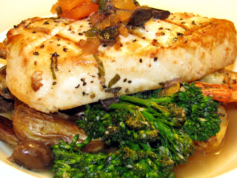 Swordfish and Broccoli royalty free stock photo
