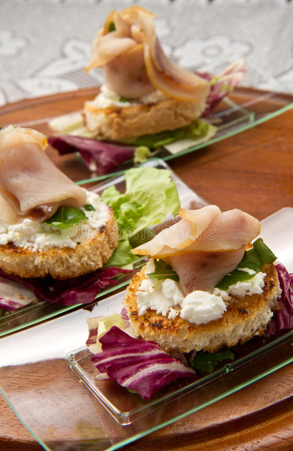 Swordfish canape royalty free stock photo