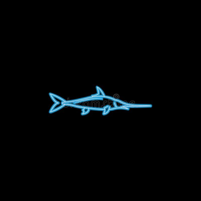 swordfish ikona w neonowym stylu Jeden dennych zwierząt inkasowa ikona może używać dla UI, UX ilustracji