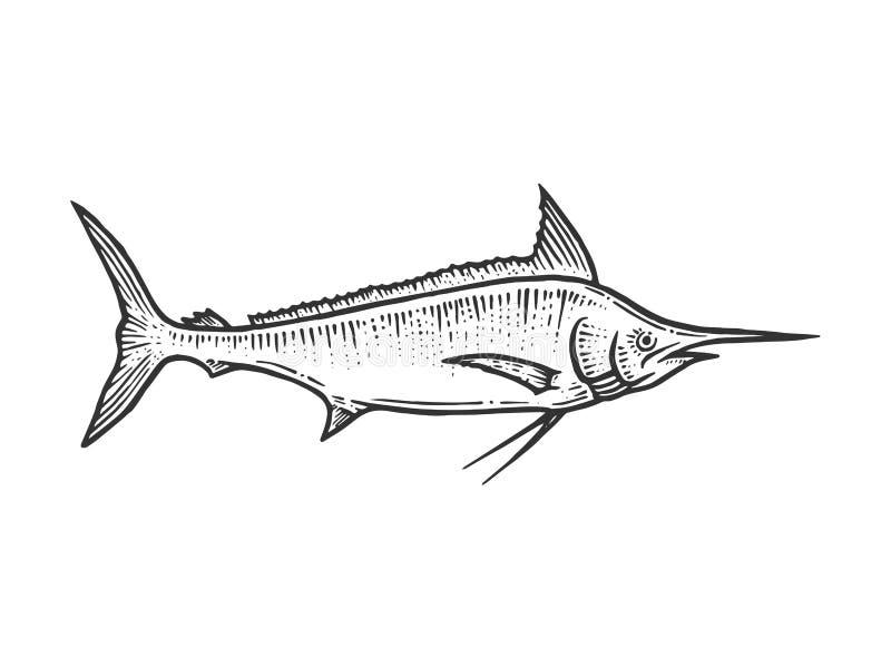 Swordfish marlin nakreślenia rytownictwa wektor royalty ilustracja