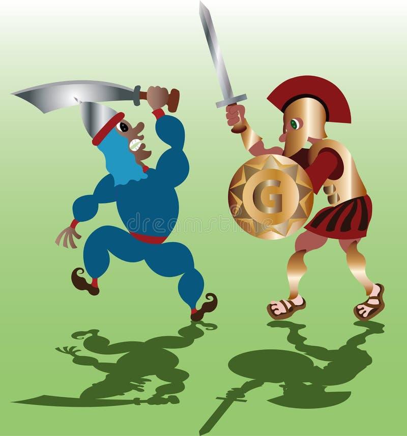 Swordmen i strid royaltyfri illustrationer