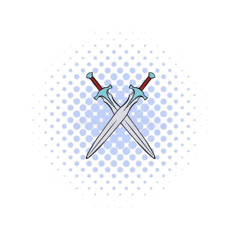 Swords crossed comics icon. Sword isometric comics icon. 2 medieval swords isolated on a white stock illustration