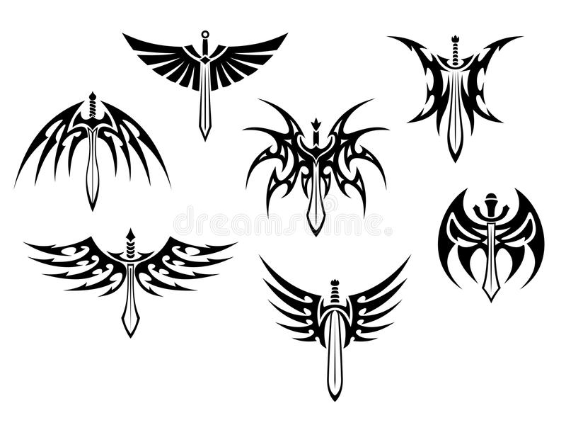 Swords and daggers tribal tattoos vector illustration