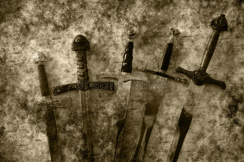 Swords fantasy. Dark fantasy texture of different swords stock photography