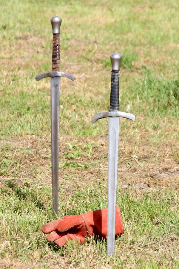 Swords and gauntlet stock photo