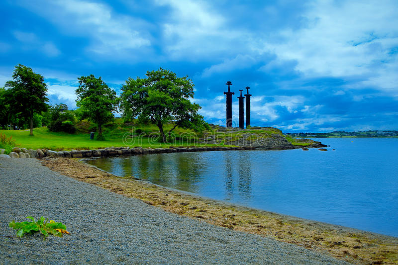Swords in Rock Hafrsfjord, Norway royalty free stock photo