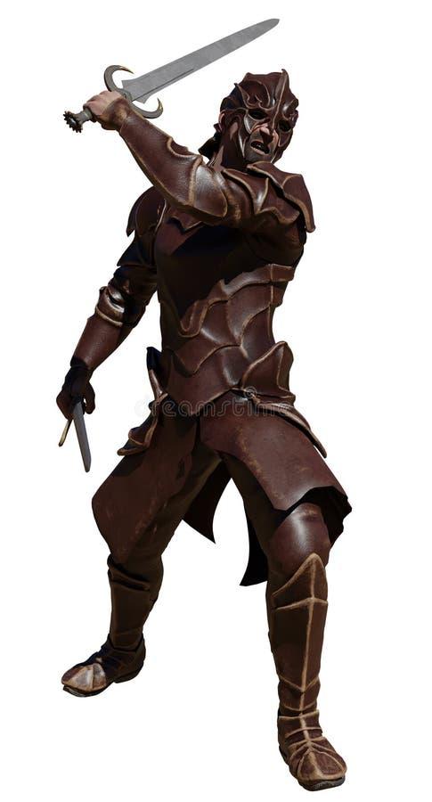 Swordsman в кожаном панцыре с 2 шпагами иллюстрация штока