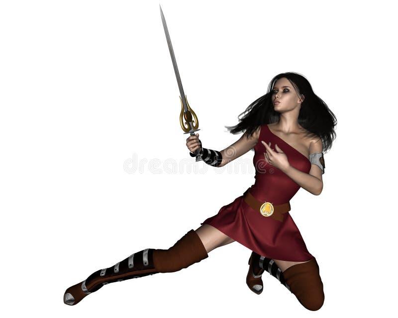 swordswoman野蛮的幻想 向量例证