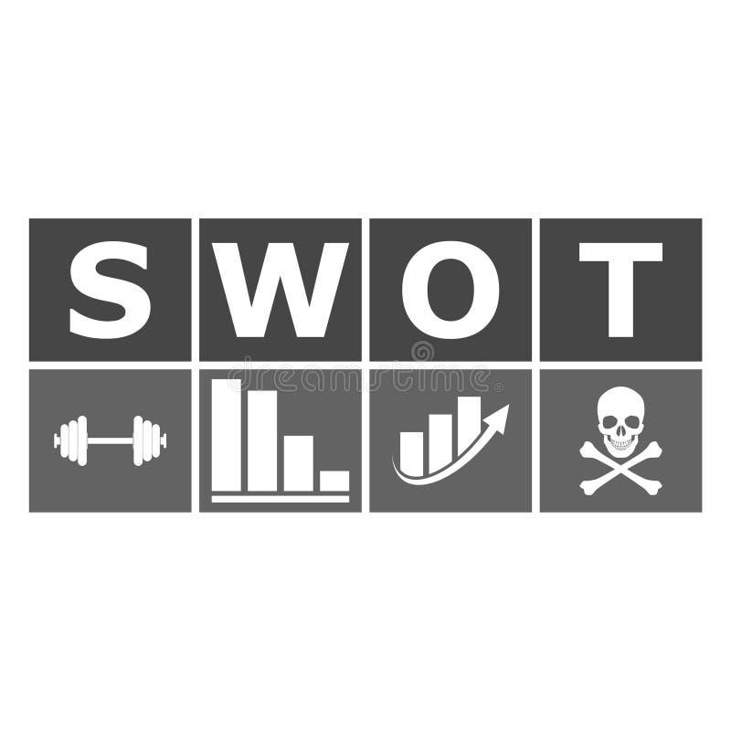 SWOT analizy biznesu diagram ilustracja wektor
