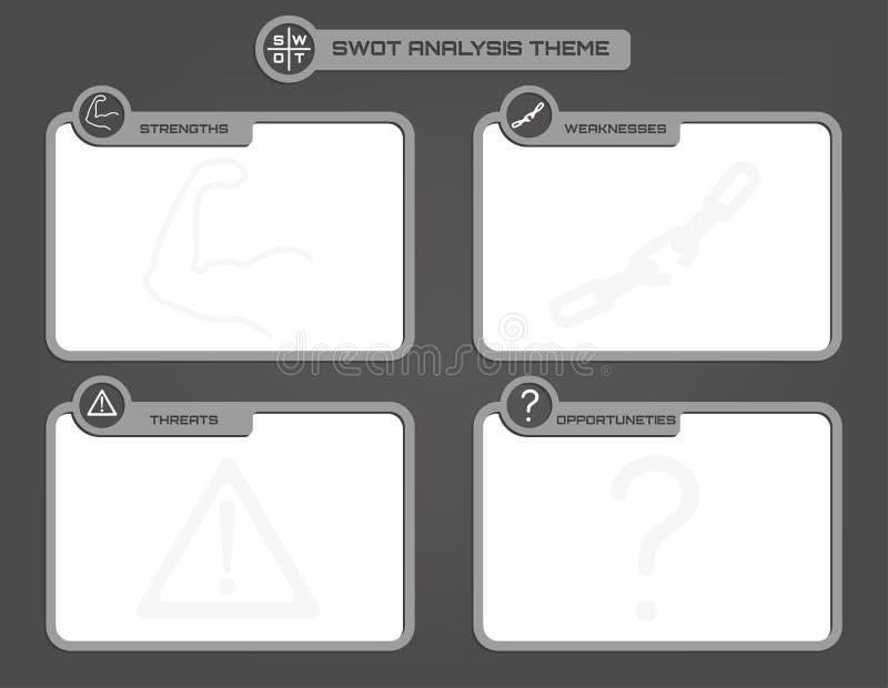 SWOT analizy tła temat w popielatych poziomach royalty ilustracja
